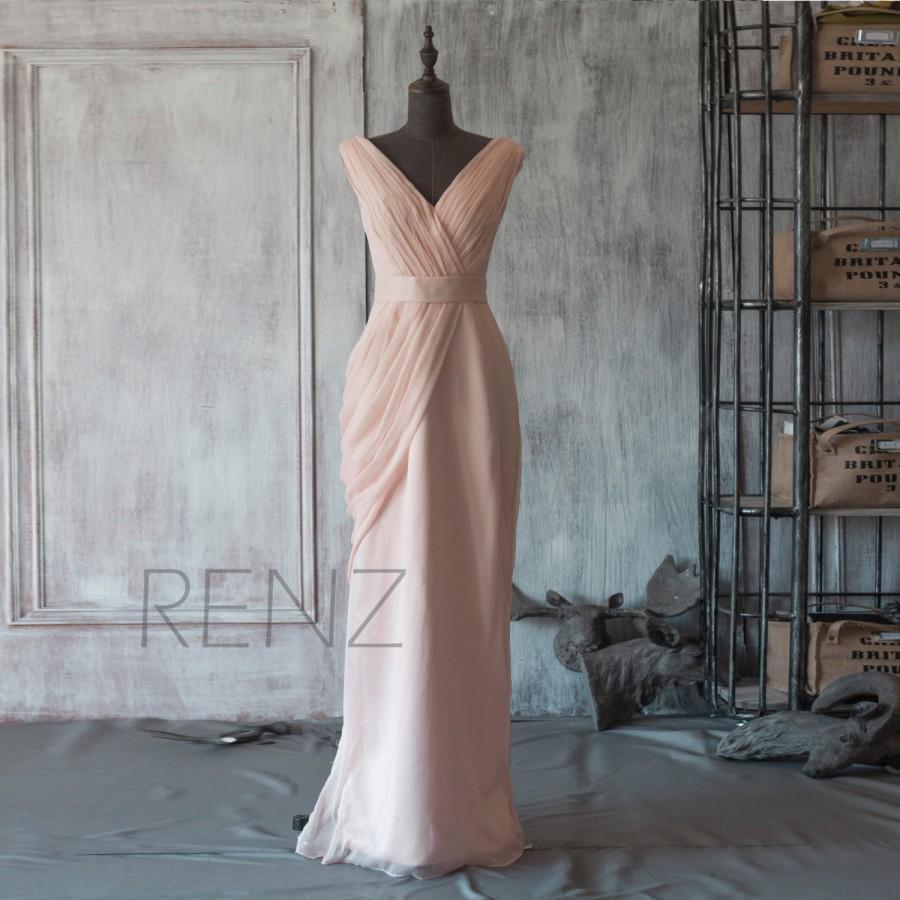 Mariage - 2015 Chiffon Blush Bridesmaid dress, Asymmetrical Backless Wedding dress, Party dress, Long Formal dress Floor length (F107)