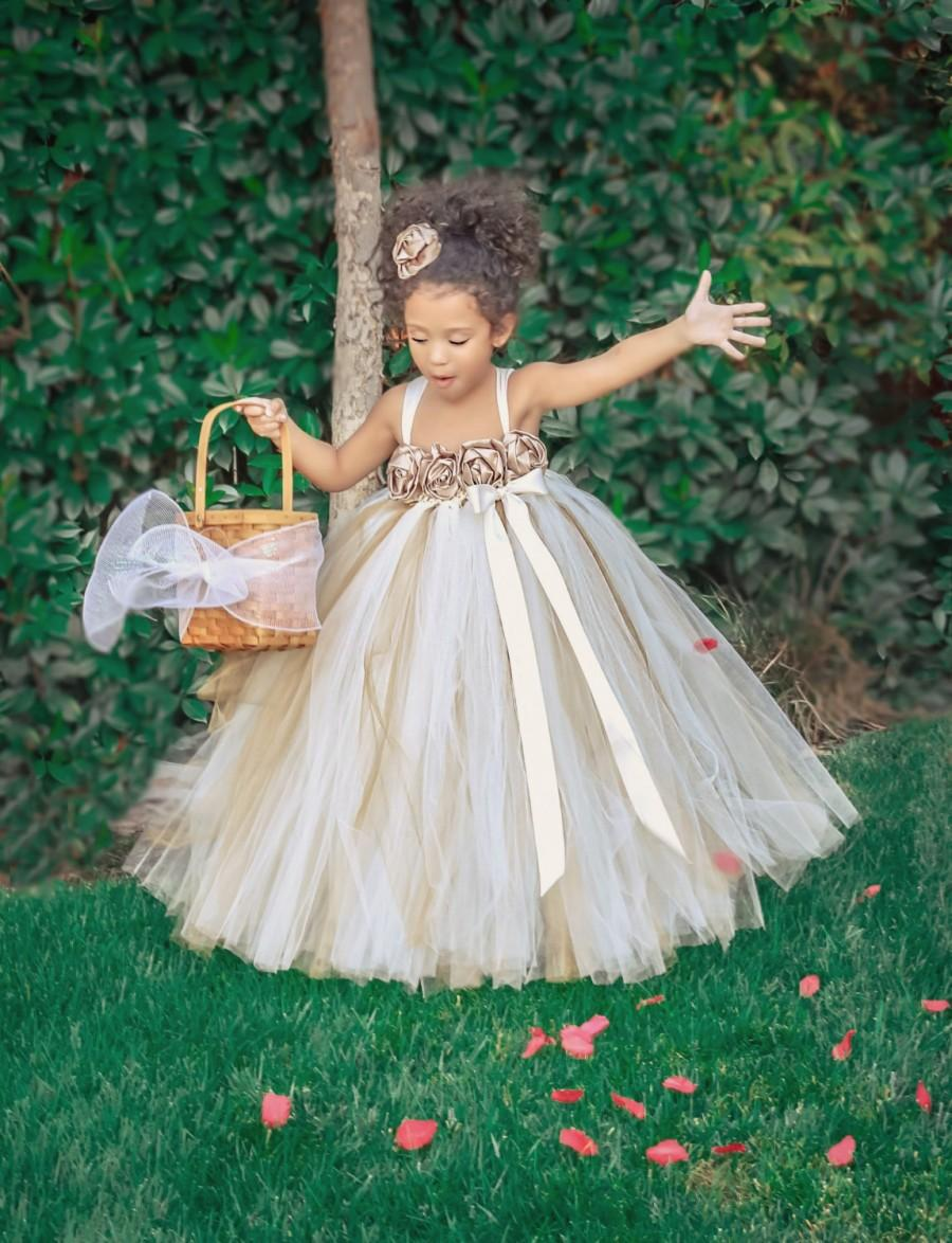Ivory Gold Champagne Flower Girl Dress Ivory Flower Girl Tutu