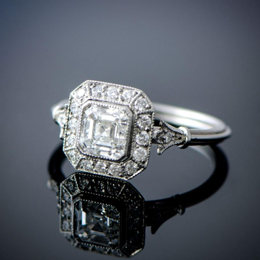Vintage Style Asscher Cut Diamond Engagement Ring  Diamond Halo  101  Carat  Gia  Vs1 Clarity  G Color  Estate Engagement Ring