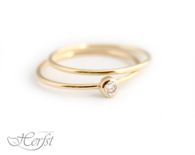 زفاف - 14k Diamond solid gold ring with stacking ring, engagement ring, wedding ring, diamond ring, Handmade