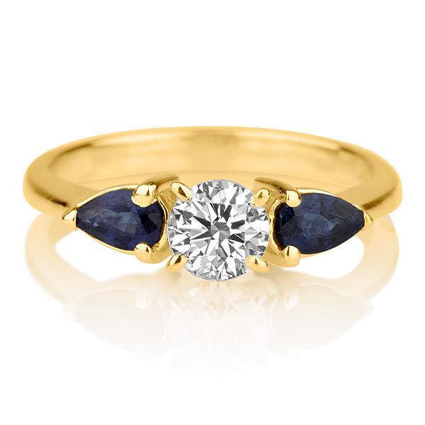 زفاف - Vintage Moissanite & Saphire Engagement Ring, 14K Gold Ring Solitaire Ring with Saphires, 1.1 CT Moissanite Ring, Unique Jewelry