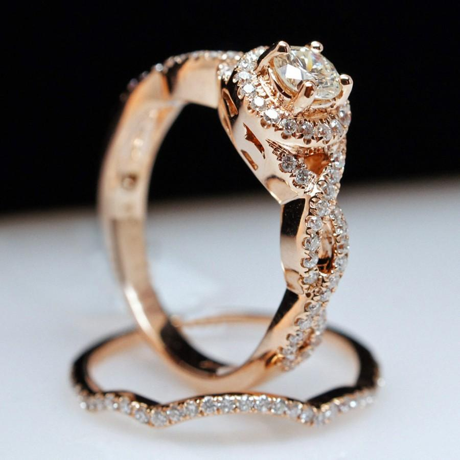 deco twisted wedding engagement curved unique solid ring diamond rose art twist stackable rings style gold