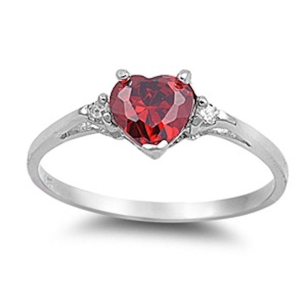 0.50 Carat Red Ruby Heart Shape Round Russian CZ 925 Sterling Silver Promise Ring Love ...