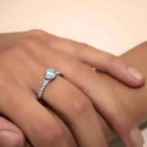 زفاف - Round Shape Diamond Engagement Ring 14k White Gold or Yellow Gold Art Deco Diamond Ring