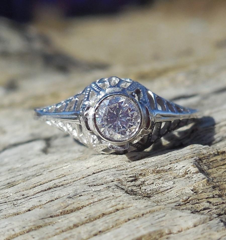 Свадьба - Vintage Antique .25ct Transitional Cut Diamond Unique Engagement Ring Art Deco Style 1920 10k-12k White Gold Bezel Set Filigree