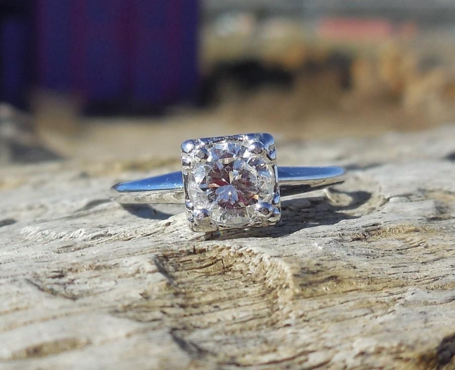 Свадьба - Vintage Antique .60ct Transitional Cut Unique Engagement Ring Art Deco Diamond 14k White Gold Mid Century Retro
