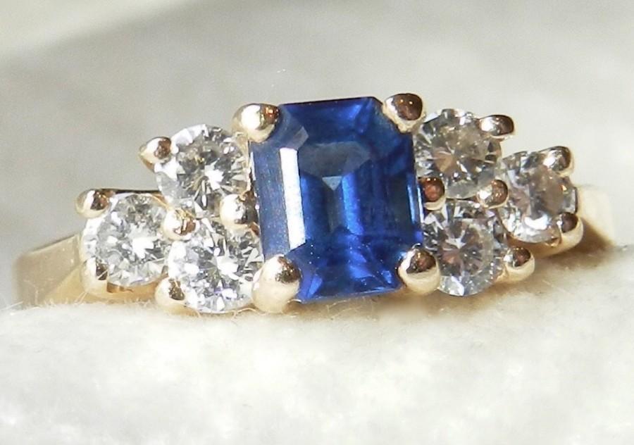 Свадьба - Sapphire Ring 14K Sapphire Engagement Ring Diamond Sapphire Diamond Ring, 14K Gold Anniversary Ring Gift September Birthday Gift