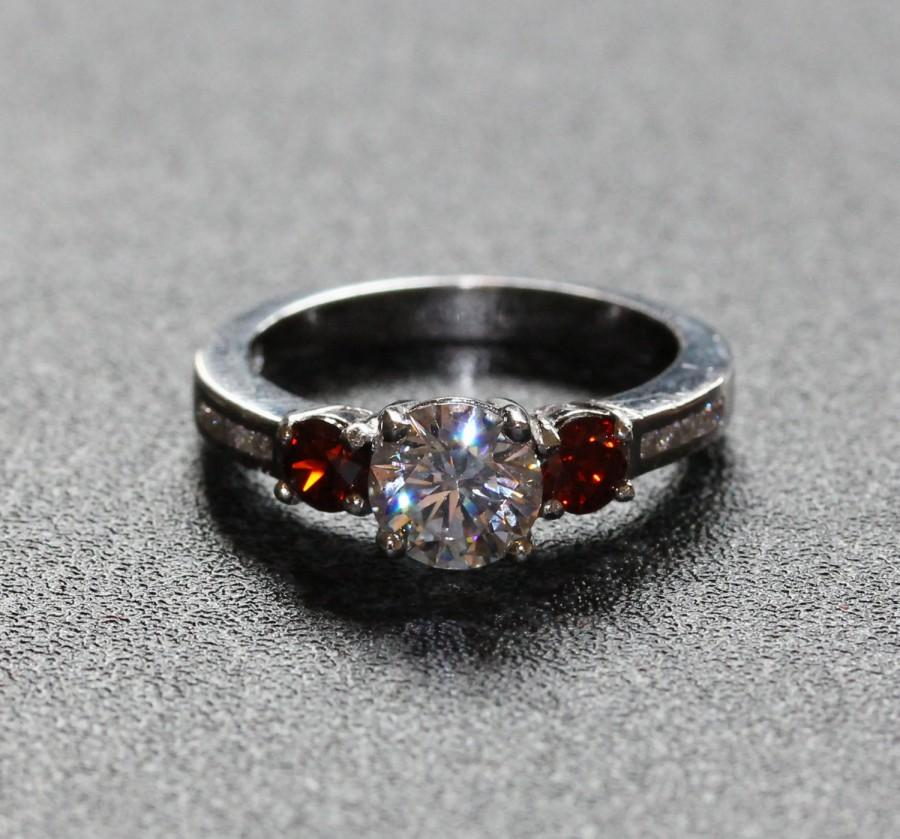 genuine garnet and white sapphire solid sterling silver trilogy ring engagement ring wedding ring - Garnet Wedding Ring
