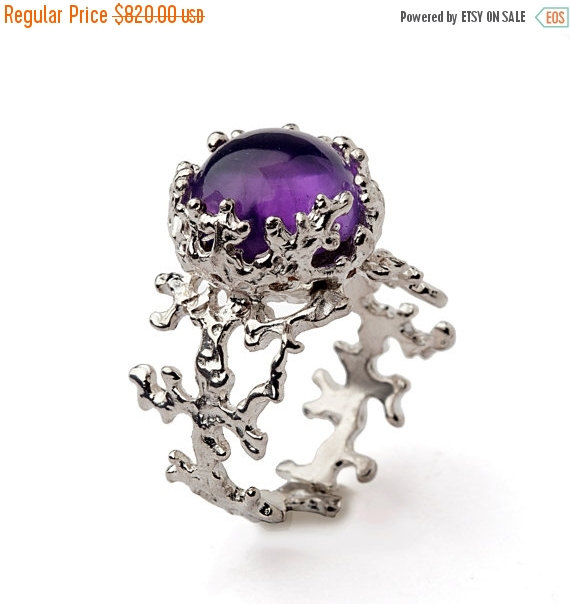 halo custom amethyst and flower ring flat organic engagement rings