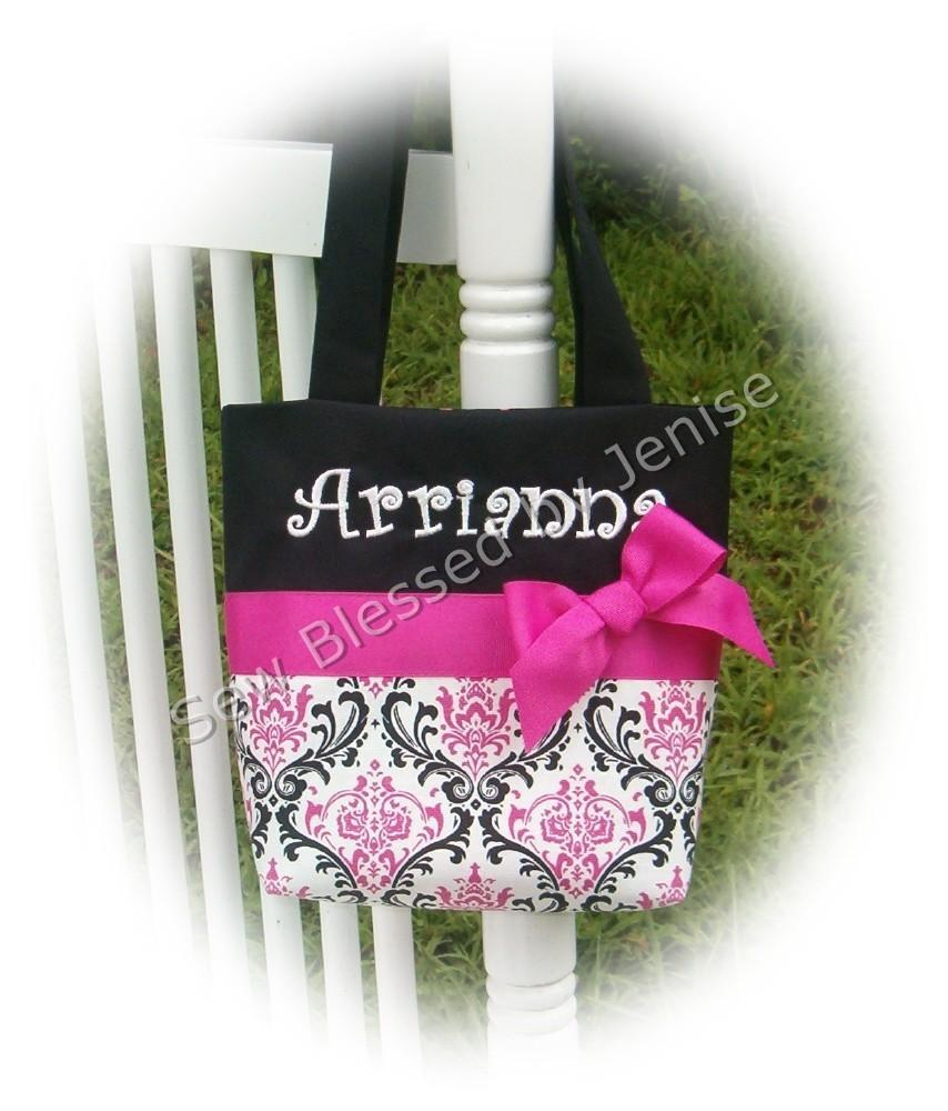 Свадьба - Flower Girl Gift , Monogrammed tote in Damask