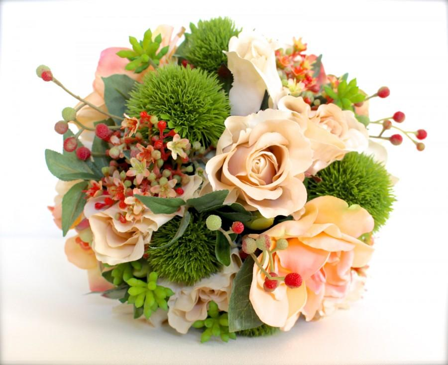 Свадьба - Wedding Flowers, Wedding Bouquet, Keepsake Bouquet, Bridal Bouquet, Ivory and Blush Coral Roses, Wedding Bouquet