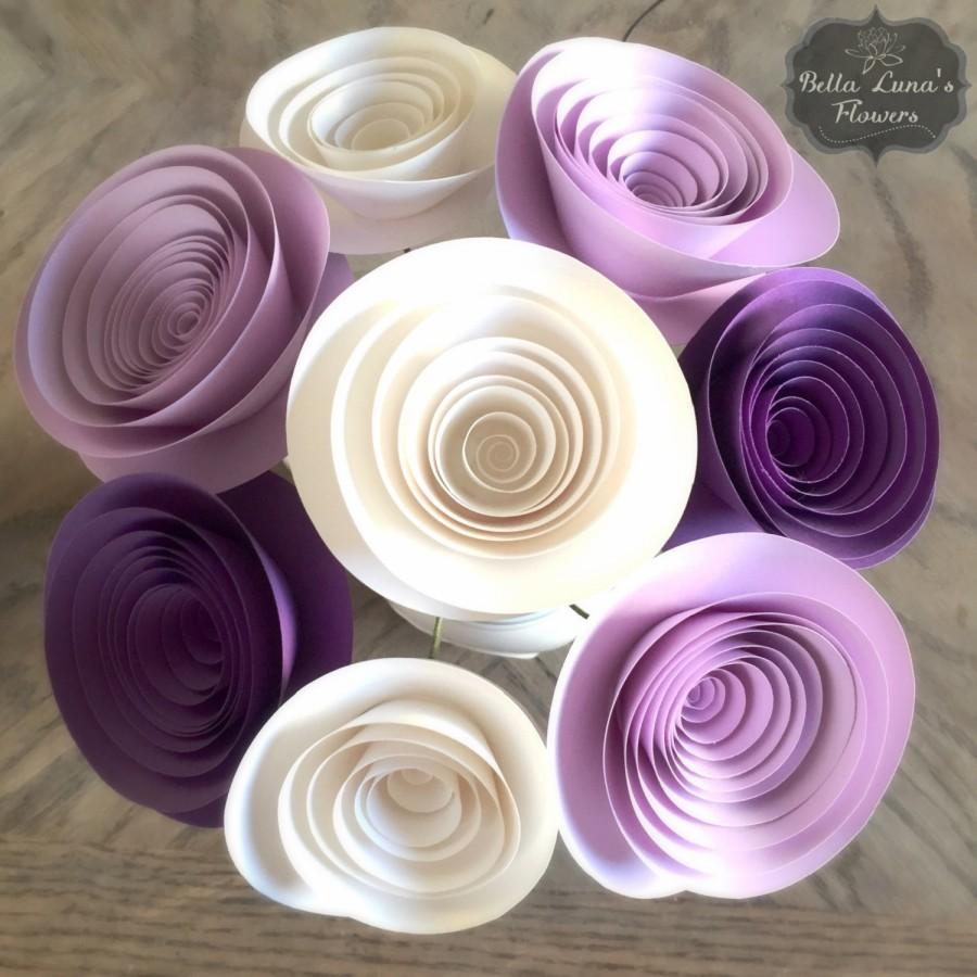 Paper Flowers Stemmed   Purple   Lilac   White   Wedding   Home Decor    Baby Shower Motheru0027s Day You Customize Any Colors