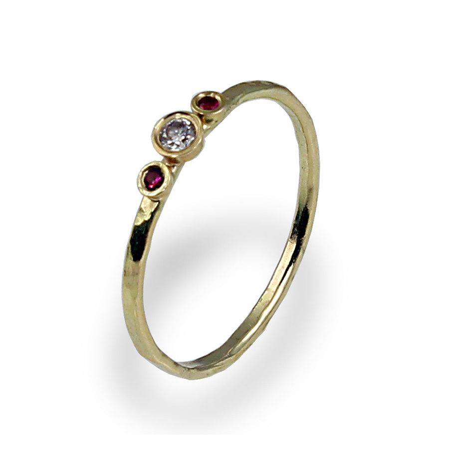 Свадьба - Diamond Engagement Ring , Ruby Engagement Band , Thin Engagement Ring , Three Stones Ring , Yellow Gold , Womens Wedding Ring , 3 Stone Ring