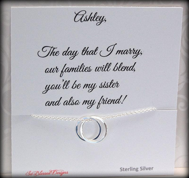 Wedding Gift For Sister In Law : Wedding - Sister in law necklace, New sister, Sister in law to be ...