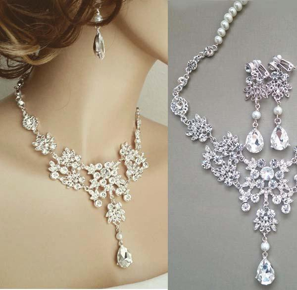 Wedding - Wedding Jewelry Set Bridal Bib Necklace Earrings Set, Bridal Statement Rhinestone Pearl Necklace, Bridal Crystal Jewellery Set