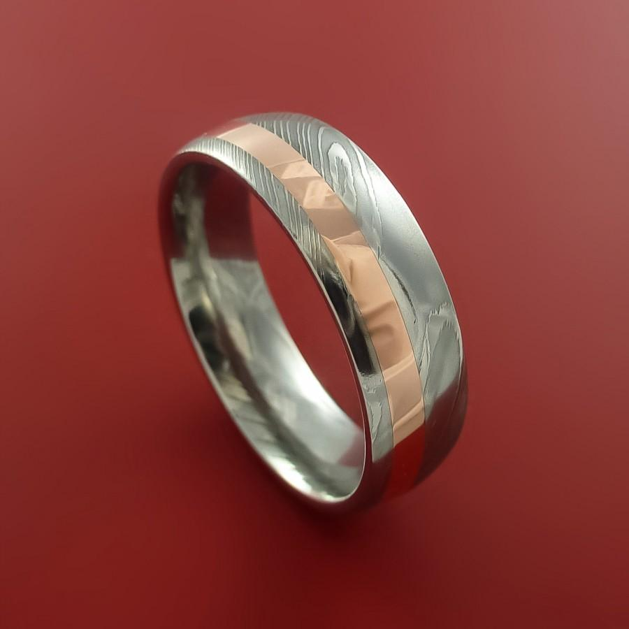 Свадьба - Damascus Steel and Copper Ring Wedding Band Custom Made to your sizing