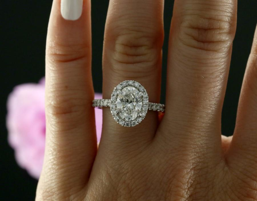 Свадьба - 9x7mm Oval Forever Brilliant Moissanite and Diamond Halo Engagement Ring in 14k White Gold (avail. in rose, white, yellow gold and platinum)