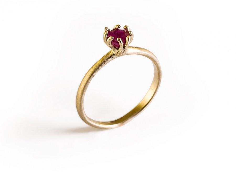 ruby ring 14k gold engagement ring gemstone ring ruby birthstone solid
