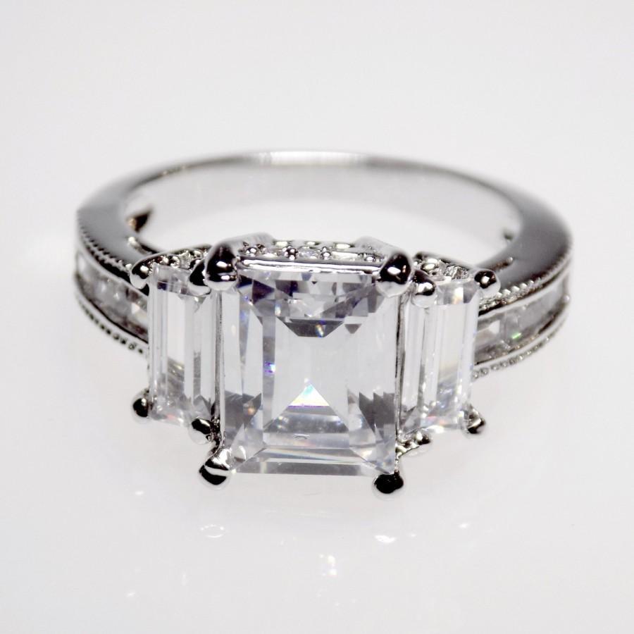 5 Carat Wedding Ring: 5.1 Carat Emerald Cut Engagement Ring Wedding Ring