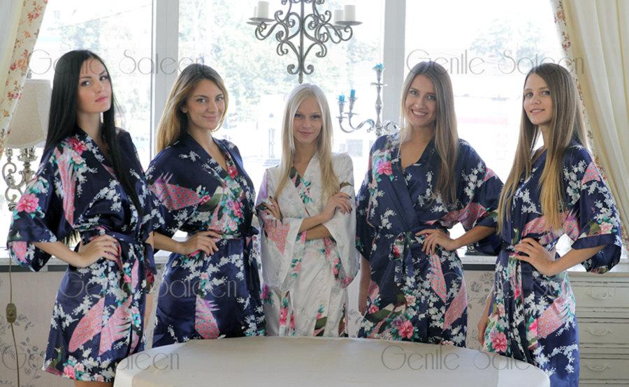 زفاف - Bridesmaid Robes, Set of 12 Bridesmaid Satin Robes, Kimono Robe, Fast Shipping from New York, Regular and Plus Size Robe Sale