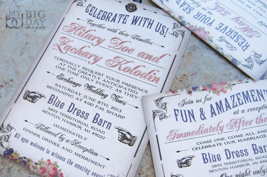 Boardwalk Bride Carnival Wedding Invitation With Vaudeville Theme