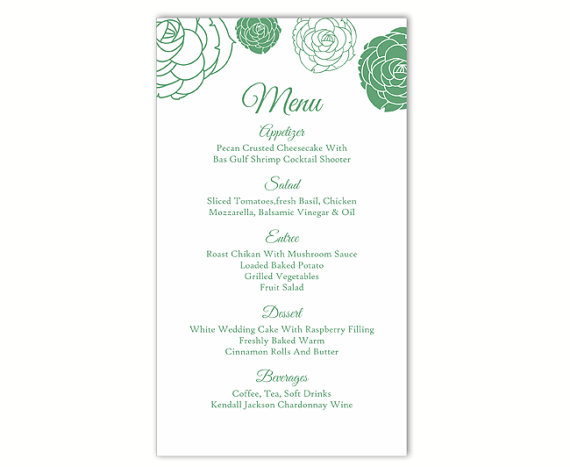 Wedding - Wedding Menu Template DIY Menu Card Template Editable Text Word File Instant Download Green Floral Menu Template Rose Printable Menu 4x7inch