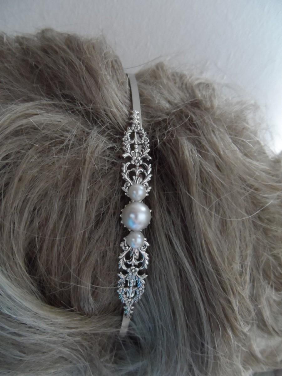 زفاف - Victorian bridal headband PEARL headband Antiqued Silver Oxidized  steampunk renaissance mythological ornate European style