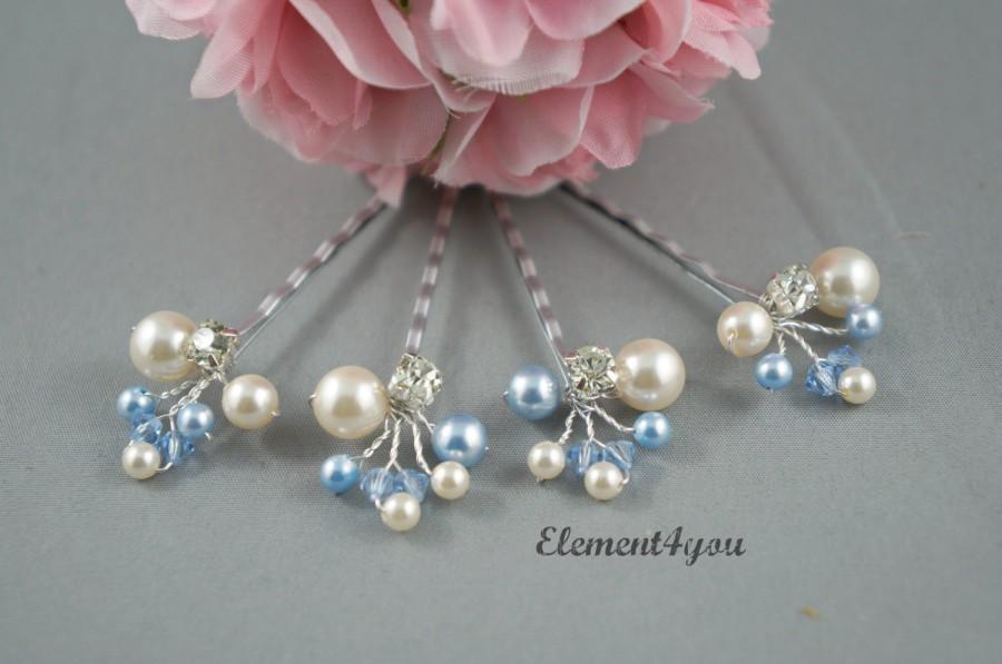 Свадьба - Bridal hair clips, Something Blue Bride, Silver Bobby Pins, Swarovski pearls, Flower girl accessories, Wedding hair do, Ivory white
