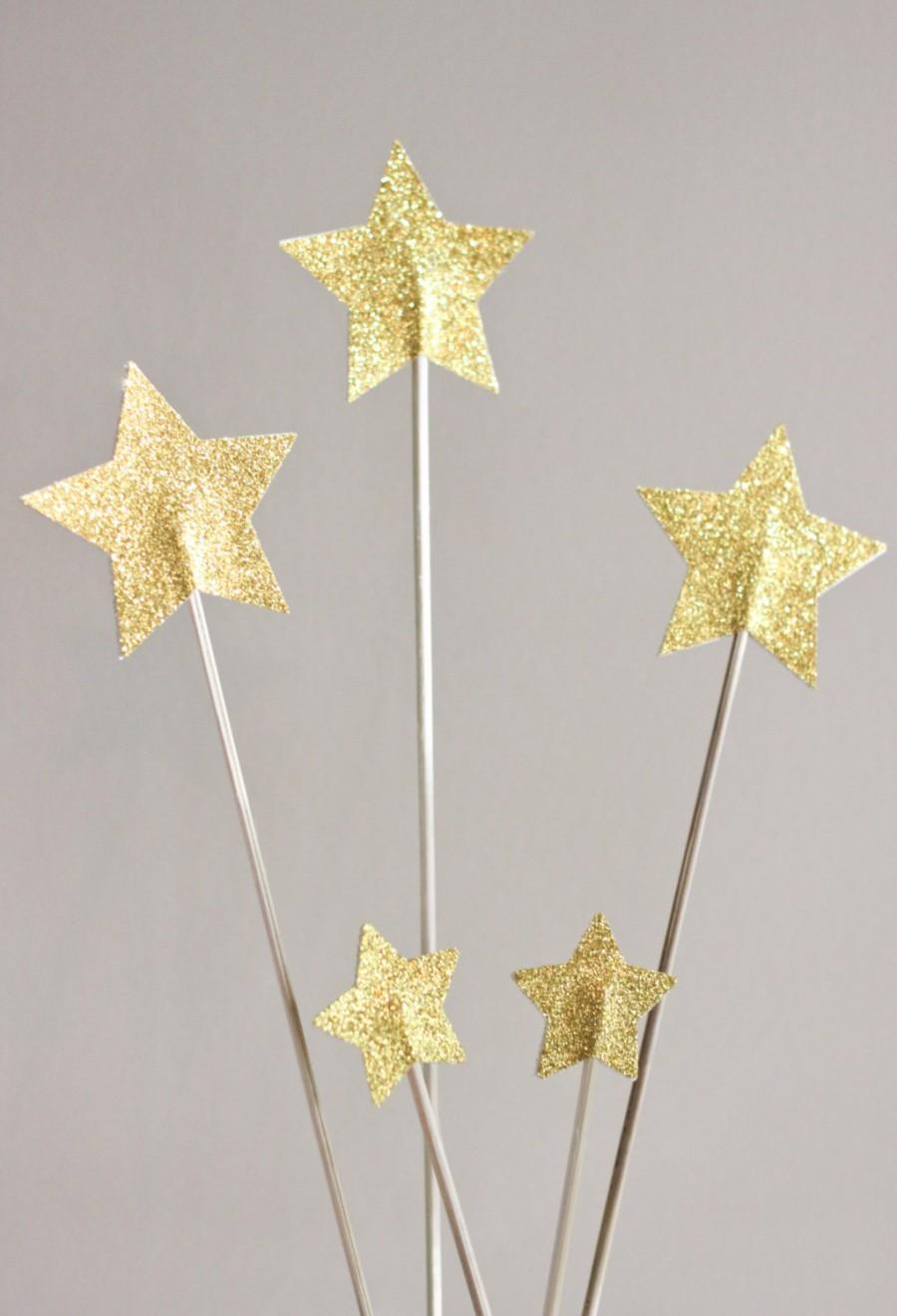 Mariage - Gold Star Cake Topper Set - Gold Glitter Star
