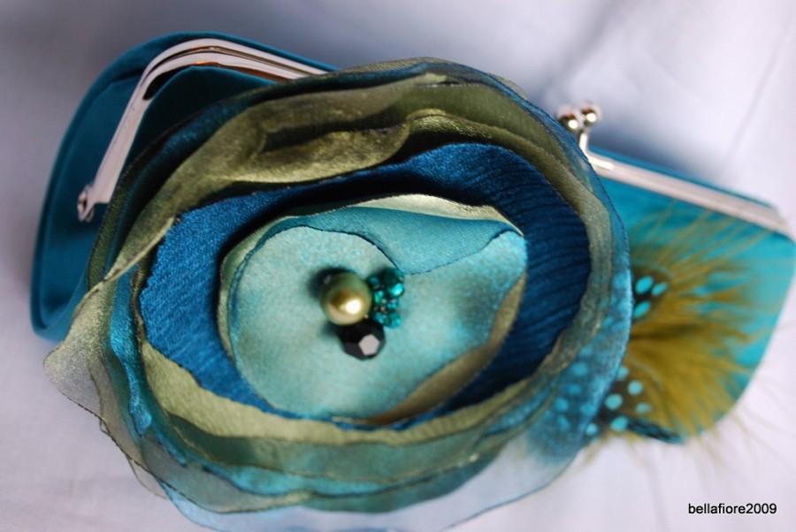 Mariage - Bridesmaid Clutch - Bridesmaid Clutches - Bridesmaid Gift Idea - Formal Clutch Handbag - Bridesmaid Clutch/ Teal Satin Clutch