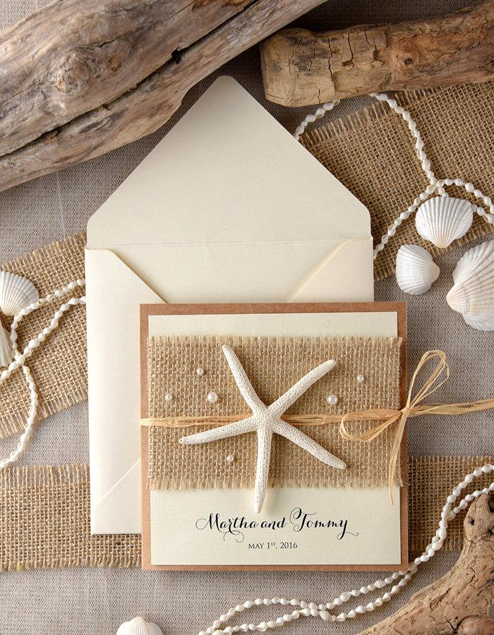 Beach Wedding Invitations (20), Rustic Starfish Invitation, Destination  Invites, White Beach Starfish Invitations,
