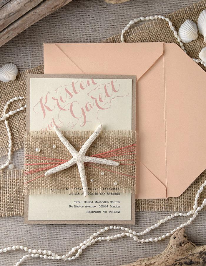 Beach Wedding Invitations 20 Peach Coral Starfish Invitation