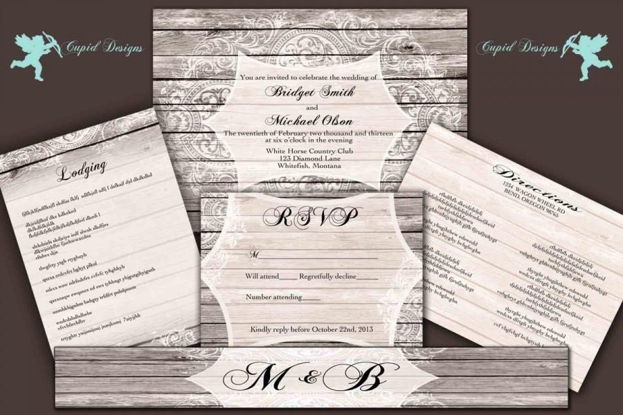 Rustic Barn Wood And Lace Wedding Invitation Suite Direction Card Accommodation Stationery Kraft Woodsy Romantic Custom