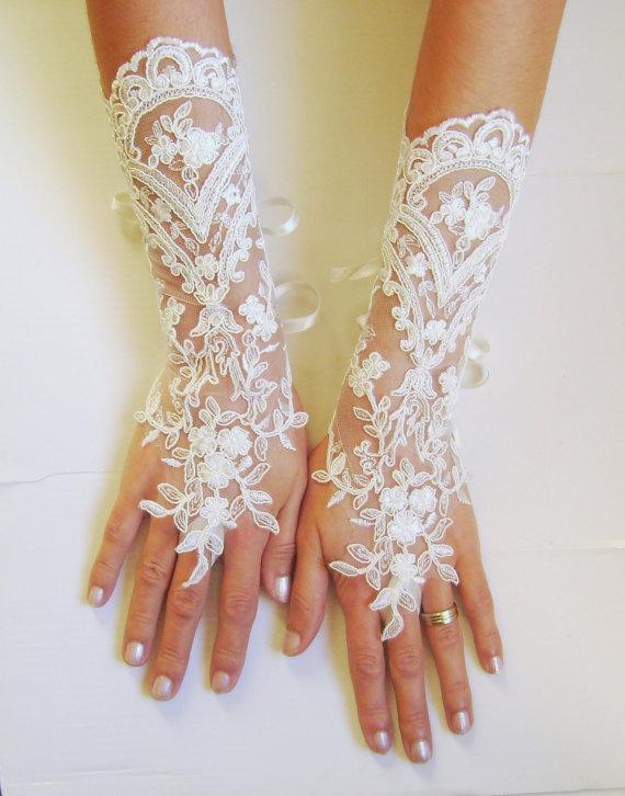 Long Ivory Wedding Gloves Bridal Lace Fingerless French Free Ship 0006