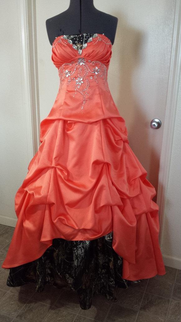 Wedding - Peach N Camo Prom dress size 5-7
