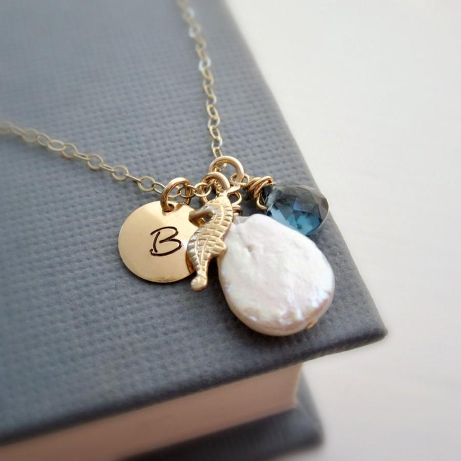 Bridesmaids Gift Summer Beach Wedding Personalized Gold Initial Necklace With Seahorse Birthstone Pearl