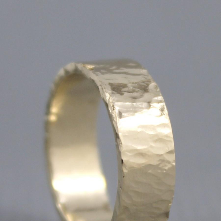 Hammered Texture 6mm 14k Yellow Gold Wedding Band Unisex Mens