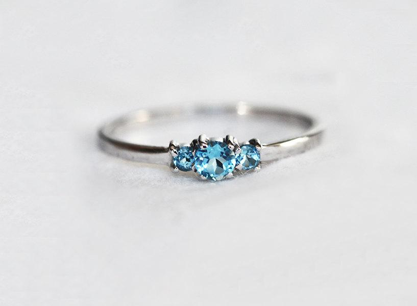 Blue Topaz Ring Gold Topaz Ring Three Stone Ring Dainty