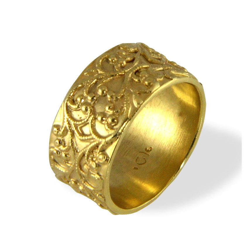 Filigree Wedding Band Vintage Style Ring Wide Wedding Band Yellow Gol