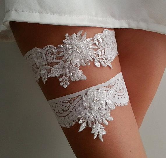 Mariage - White beaded beads garter lace garter beaded modern garter Lolita prom bridesmaid bridal garter burlesque garter free ship