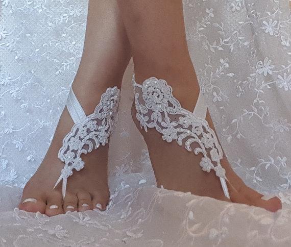 0b4a89101 Snow white Beaded wedding sandal bridal shoe beach wedding lace barefoot  sandals