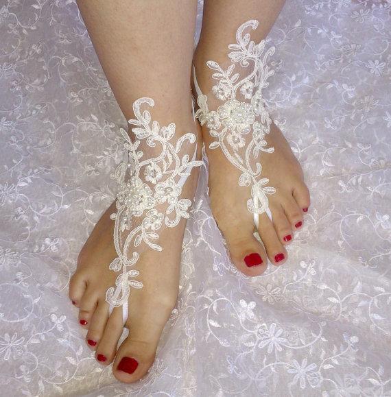 Wedding - Free ship ivory Beach wedding barefoot sandals wedding shoes prom party steampunk bangle beach anklets bangles bridal bride bridesmaid
