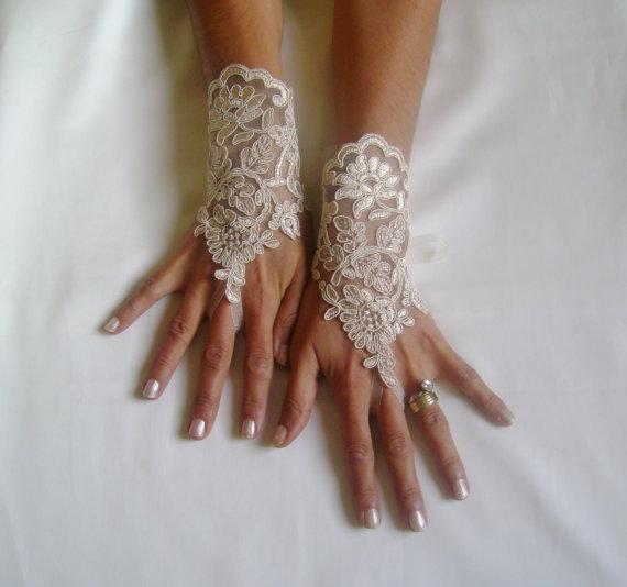Wedding - champagne gold Wedding gloves free ship bridal gloves fingerless lace gloves champagne gloves french lace gloves free ship