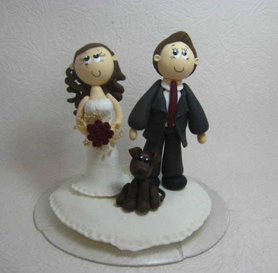 Mariage - Wedding cake topper, custom wedding cake topper with dog