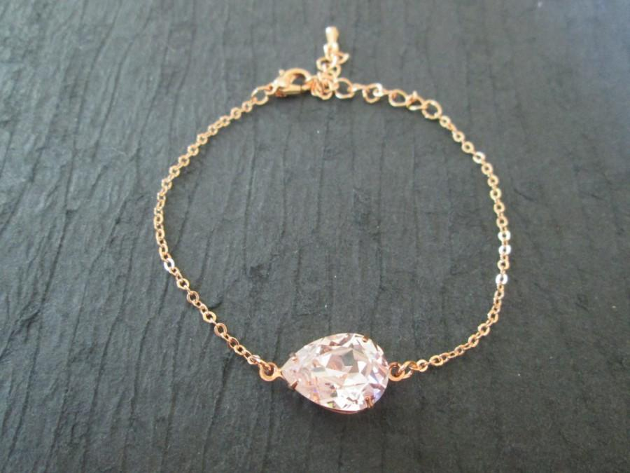 Rose Gold Swarovski Crystal Bracelet Bridesmaid Jewelry Rosalinecrystal