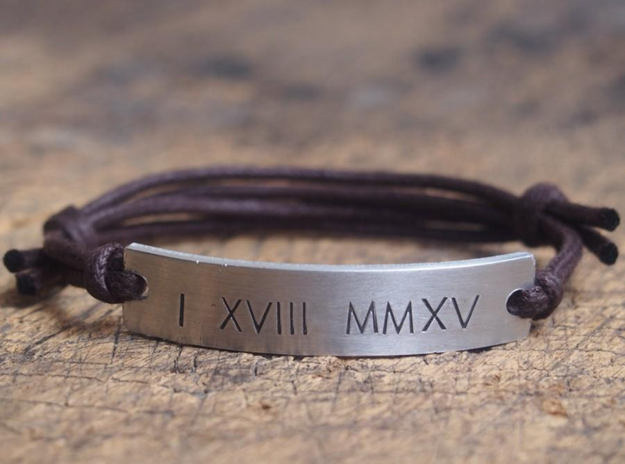 Personalzied Roman Numeral Bracelet Customized Friend Boyfriend Anniversary