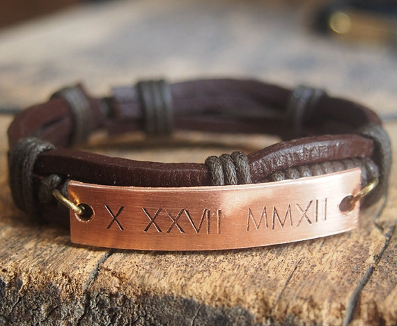 Unique Men S Gift Mens Personalized Bracelet Leather Roman Numeral Engraved Anniversary