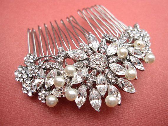 Wedding - Vintage Inspired Pearls Bridal Hair Comb,wedding Hair Comb,wedding Hair Accessories,pearl Bridal Comb,crystal Wedding Comb,bridal Headpieces