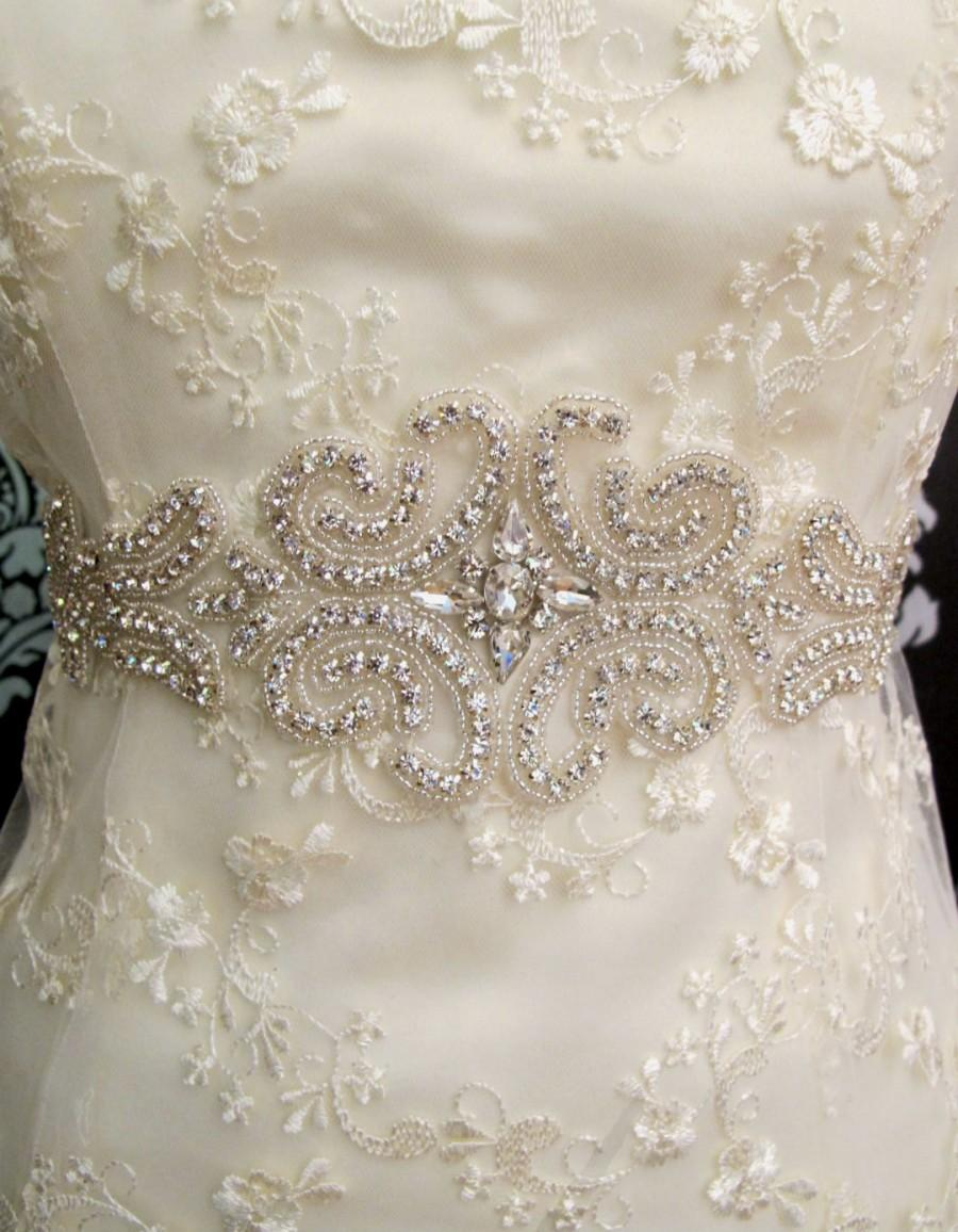 Düğün - Rhinestone Applique Bridal Sash Crystal Wedding Belt