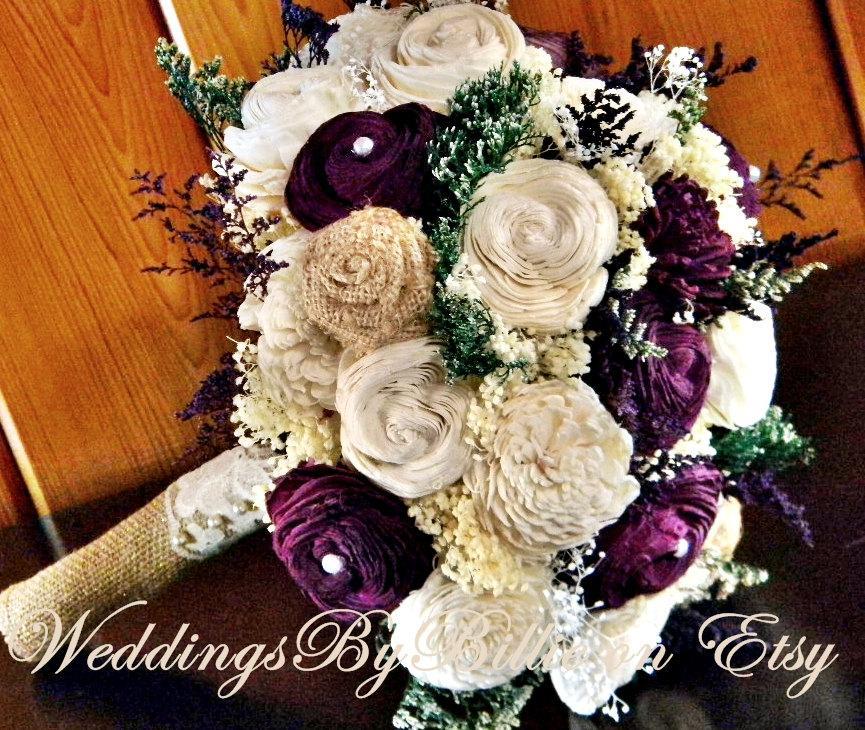 Fall Bouquets Wedding Burlap LacePlum Sola BouquetPurple BouquetAlternative BouquetRusticBridal AccessoriesKeepsake Bouquet